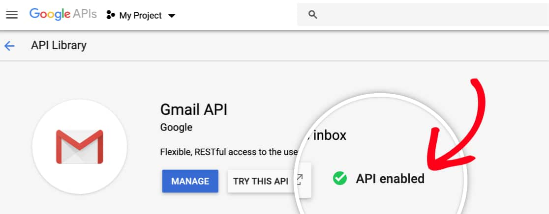 Check that Gmail API is enabled