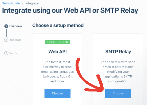 Choose SMTP relay for SendGrid setup