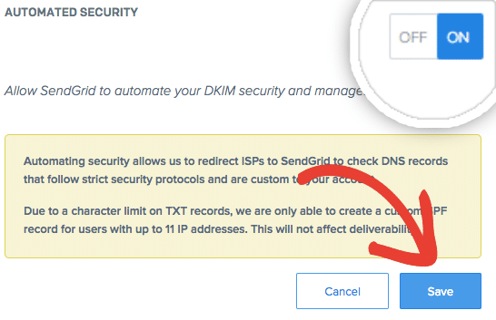 Enabled SendGrid automated security and save changes