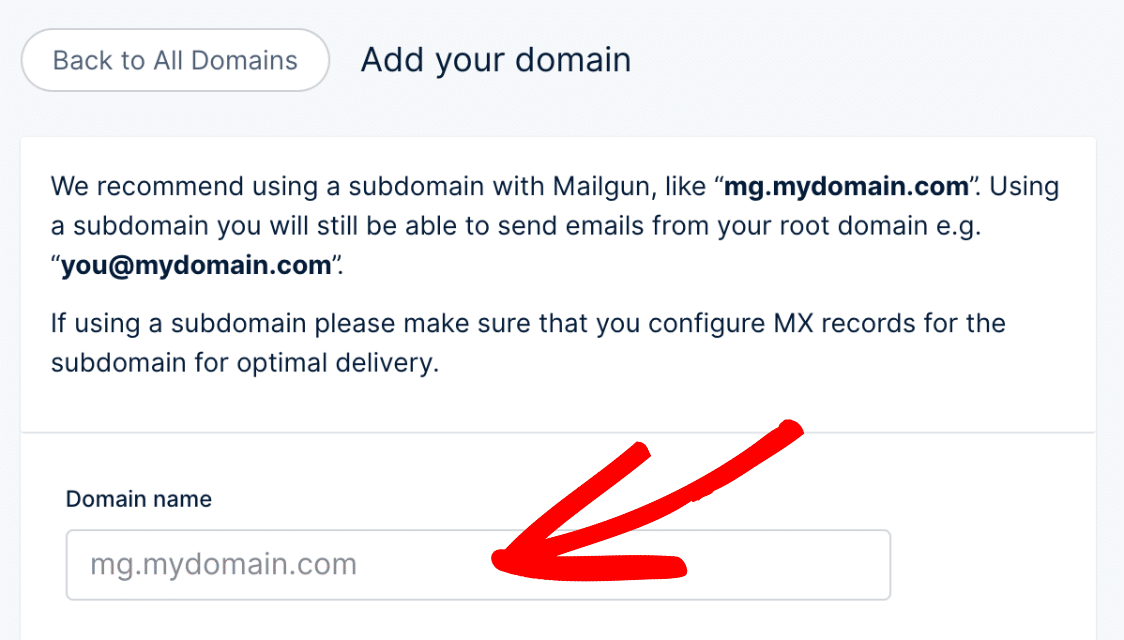 Enter a subdomain for Mailgun