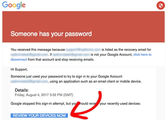 Gmail SMTP security email
