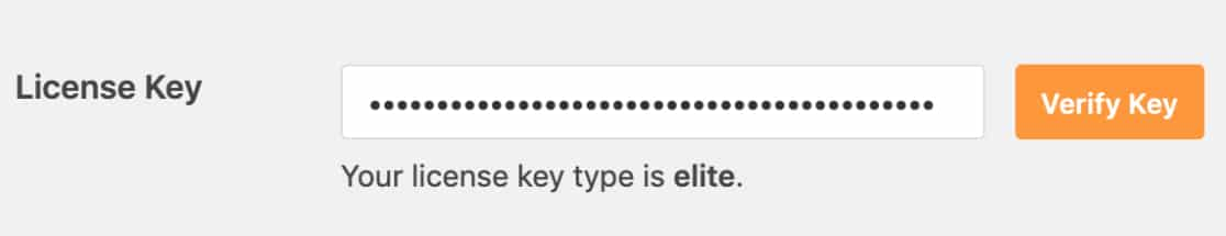 License type is displayed under license key