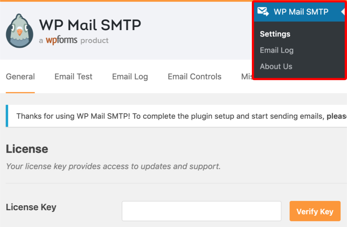 Open WP Mail SMTP settings to access LIcense Key field