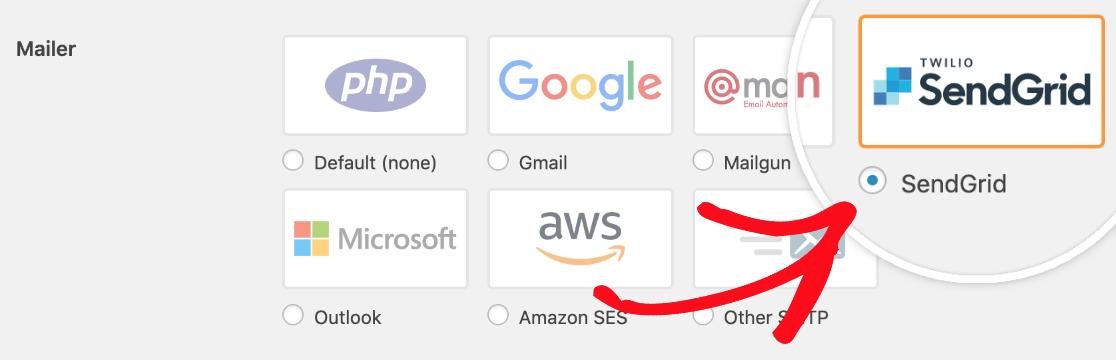 Select SendGrid mailer in WP Mail SMTP