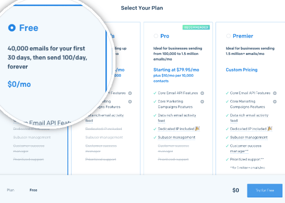Sign up for a free SendGrid account