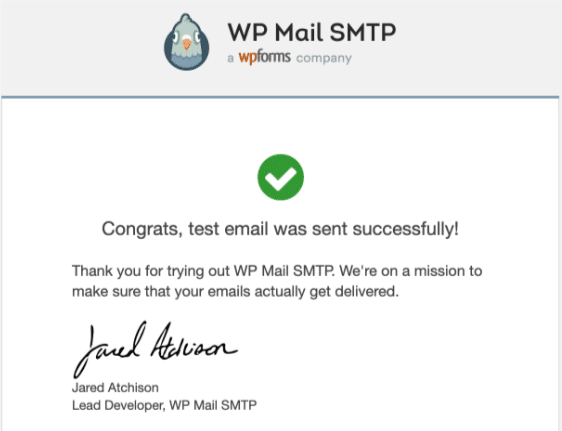 Test email for WP Mail SMTP Gmail