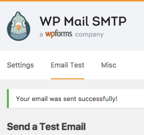 WP Mail SMTP test email was sent successfully
