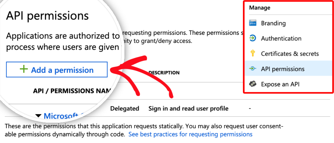 Add a permission to your Microsoft API