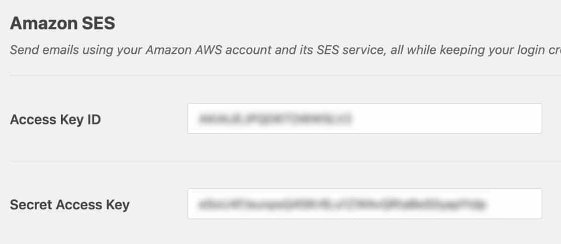 Add access keys for Amazon SES in WP Mail SMTP