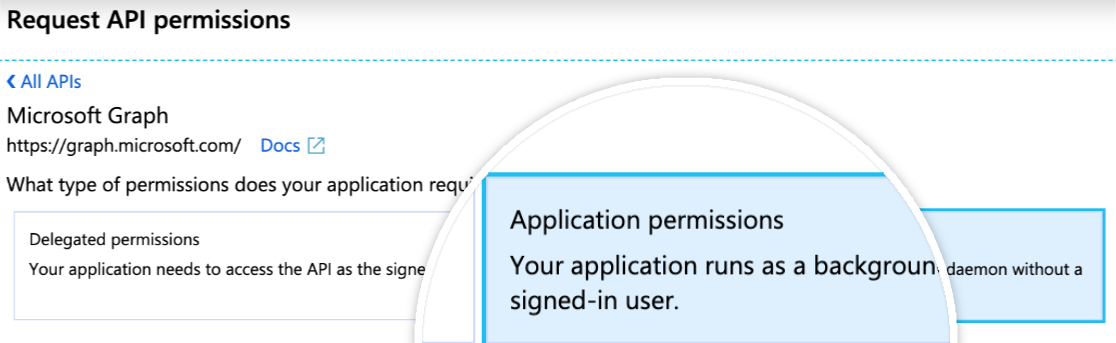 Add application permissions in Microsoft
