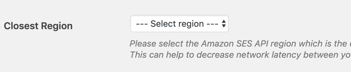 Choose closest region option in WP Mail SMTP settings