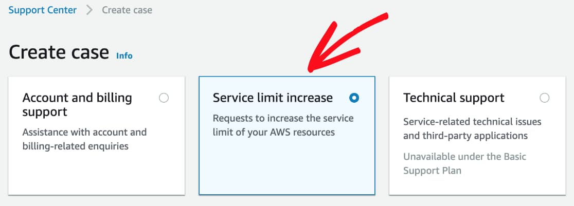 Create case for server limit increase