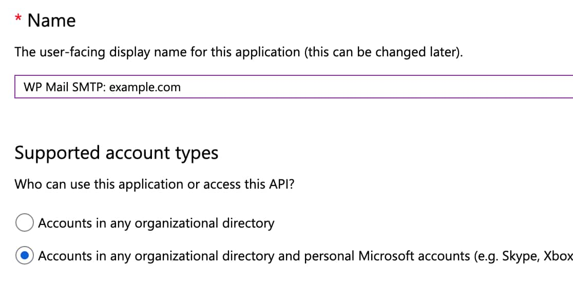 Example of app registration form in Microsoft