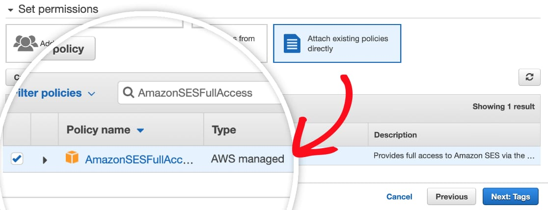 Provide permissions to IAM user in AWS