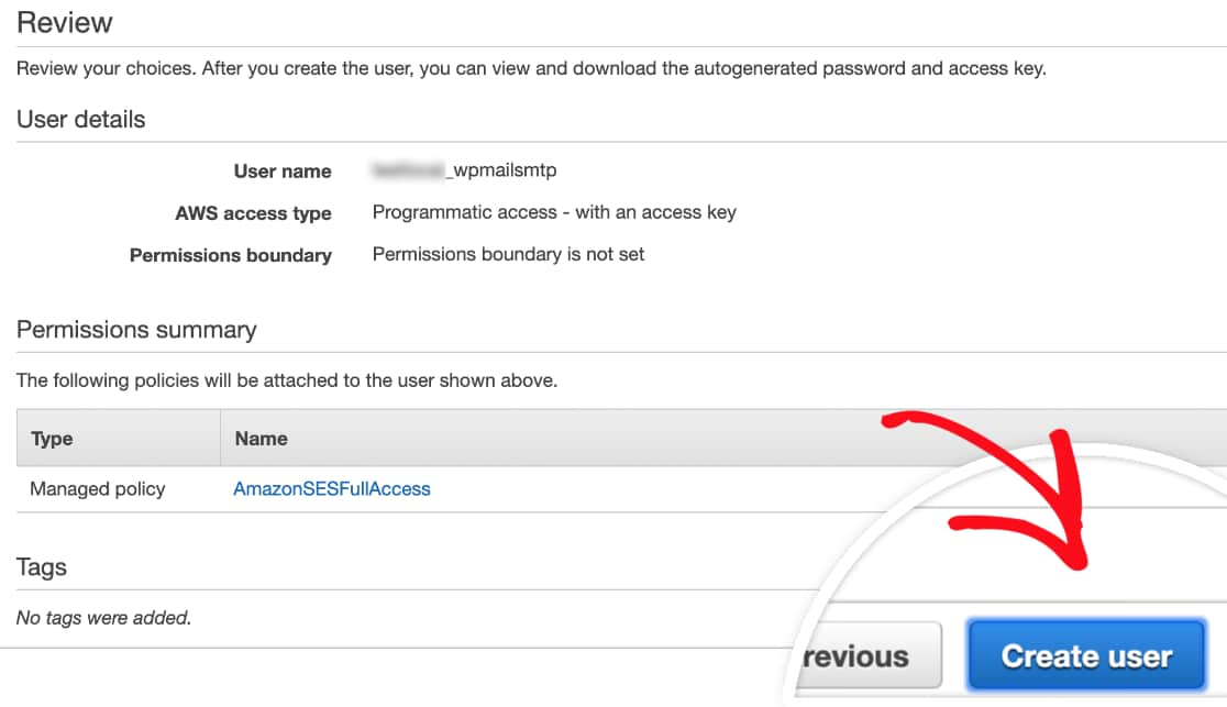 Review details before creating user in AWS