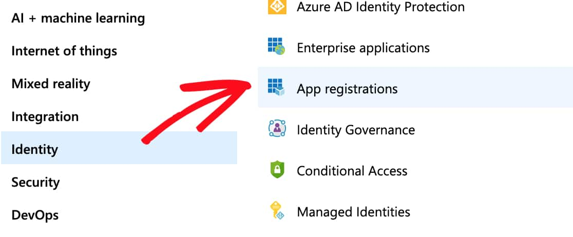 Select Identity and then App Registrations