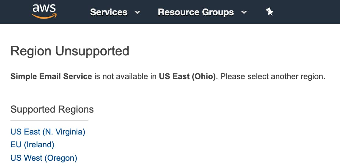 Select a region in AWS