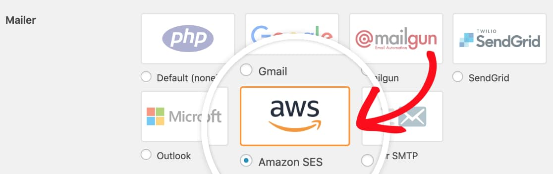 Select the Amazon SES mailer in WP Mail SMTP