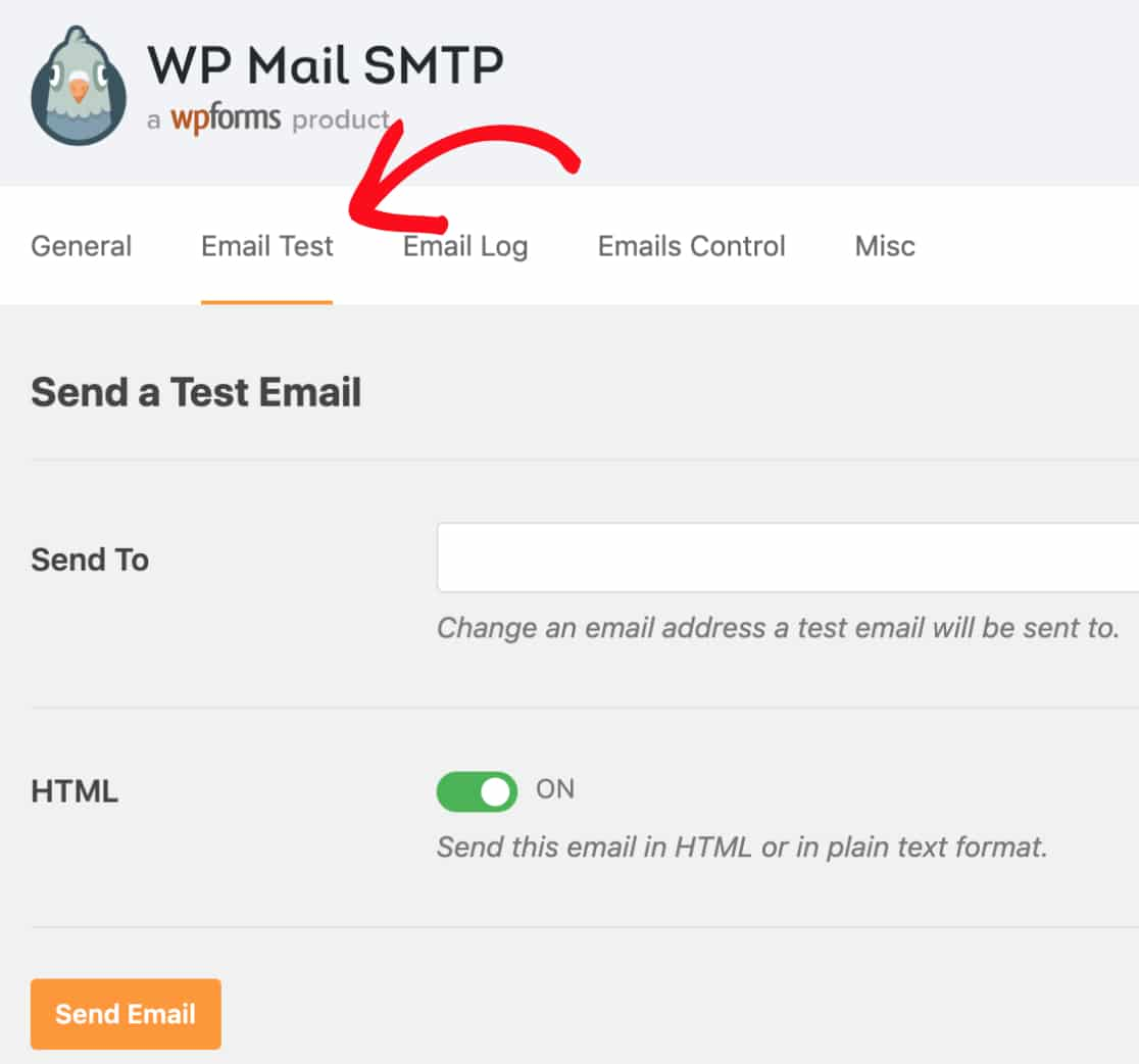 Send a test email in WP Mail SMTP