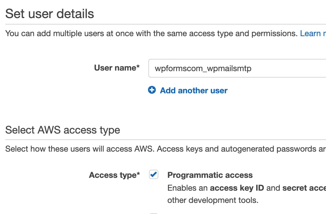 Set up IAM user details in AWS