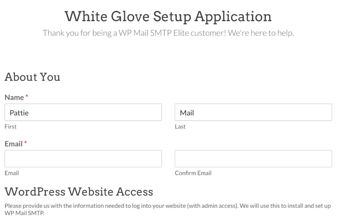 White Glove Setup application form