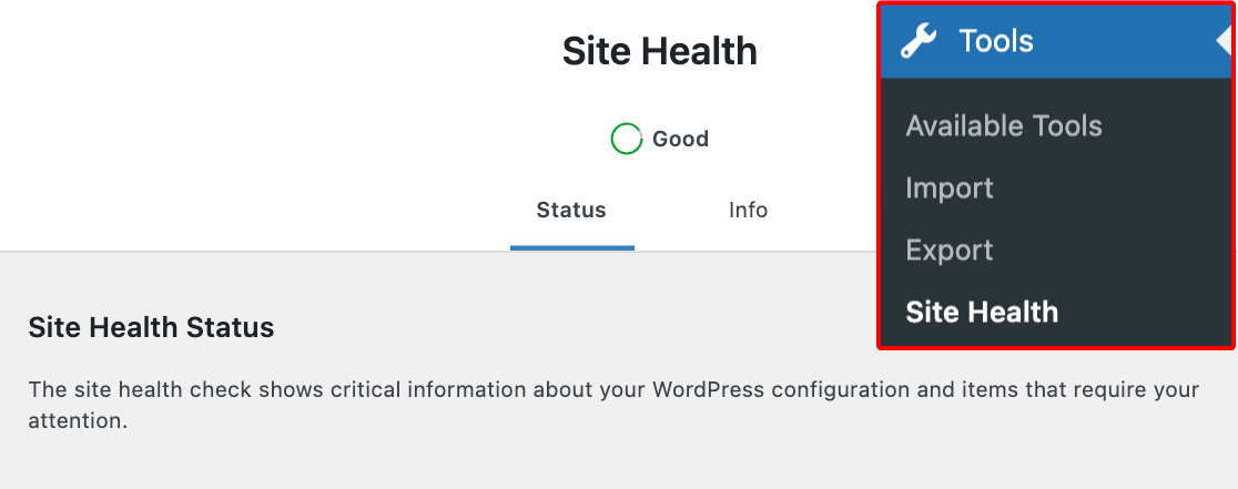 The WordPress Site Health tool