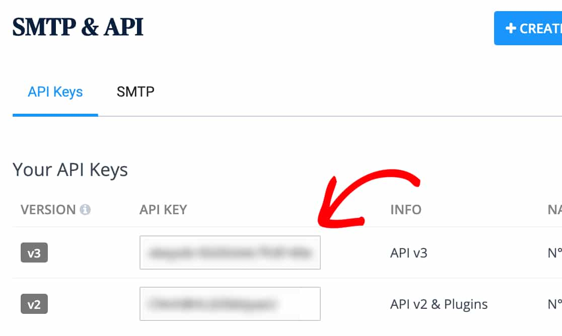 Copy the v3 API key in Sendinblue