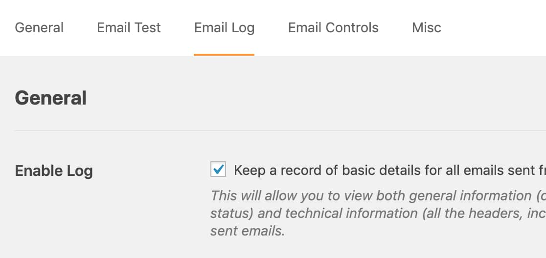 Email logging options in WP Mail SMTP