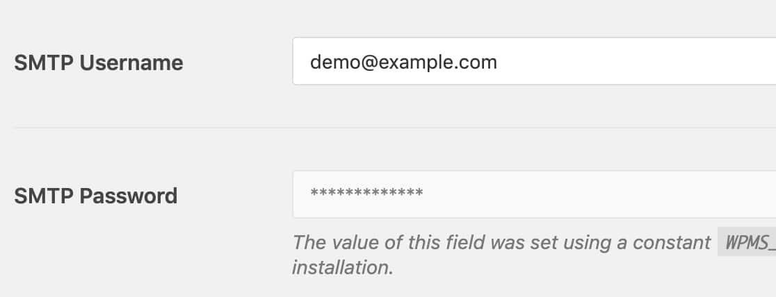 Fields using constants will be disabled in the WordPress admin area