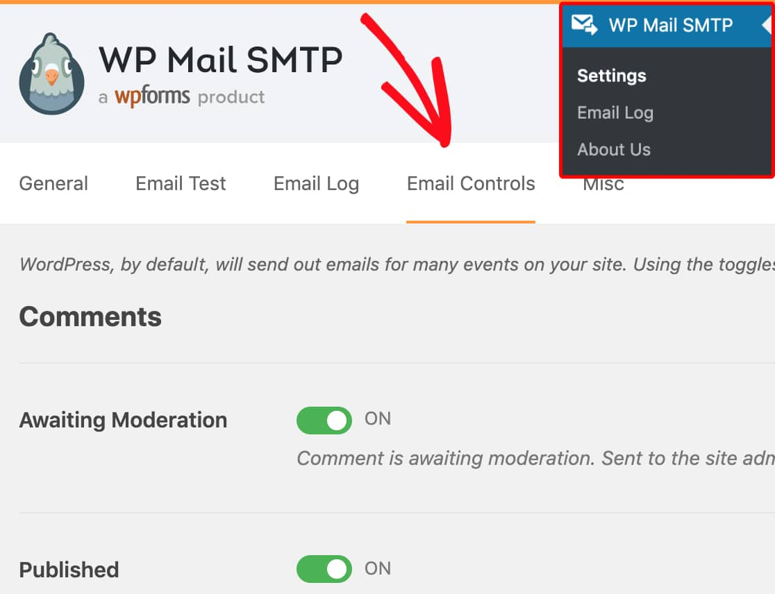 Open email control settings in WP Mail SMTP