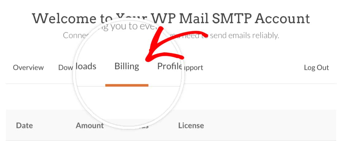 Open the Billing tab of your WP Mail SMTP account