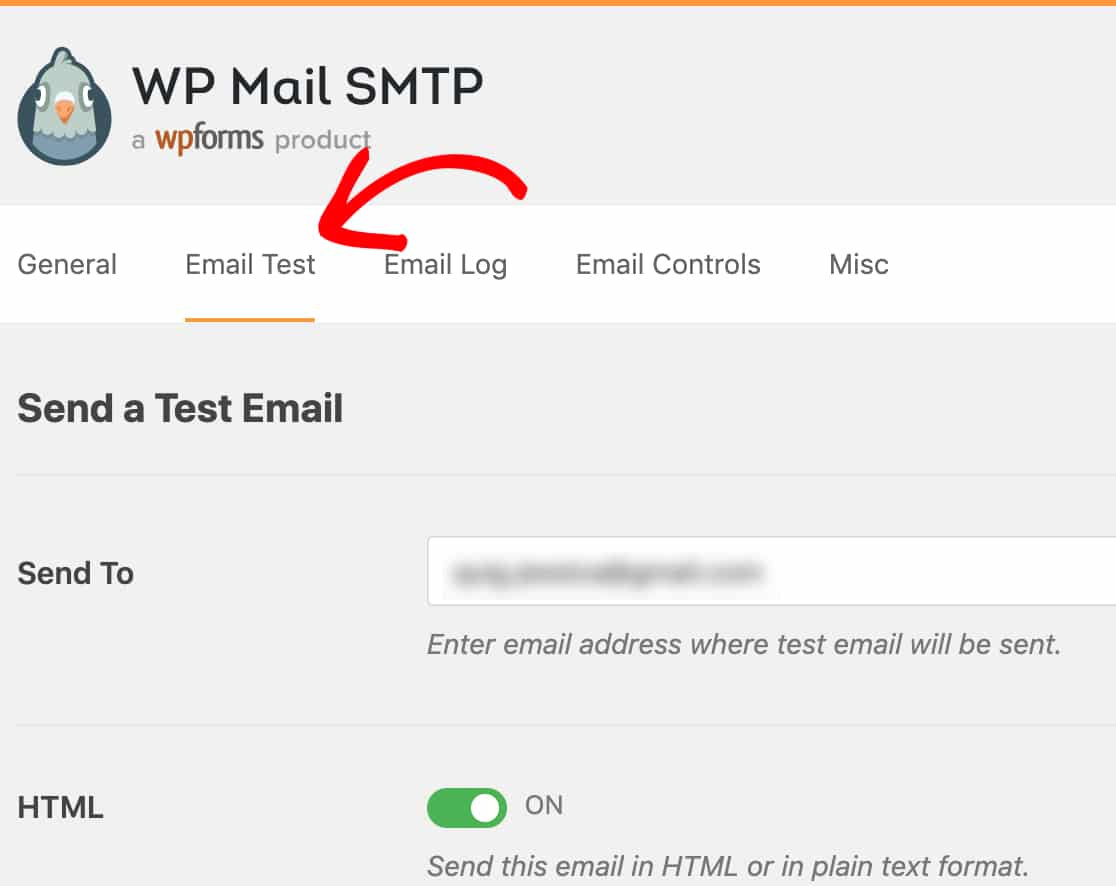 Open the Email Test tab in WP Mail SMTP wordpress outlook mailer