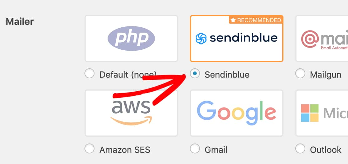 Select the Sendinblue mailer in WP Mail SMTP