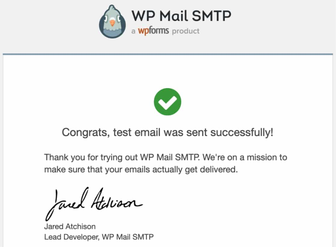 Successful test email from WP Mail SMTP