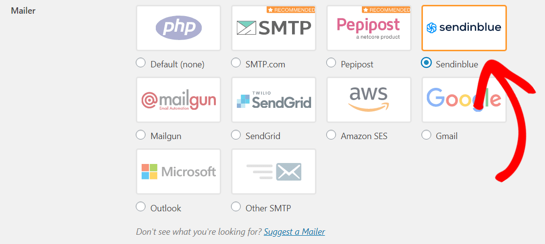 pick the sendinblue mailer wp mail smtp