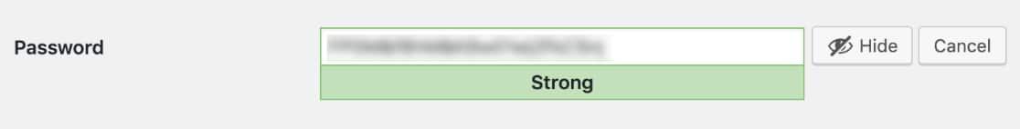 Copy the generated WordPress user password