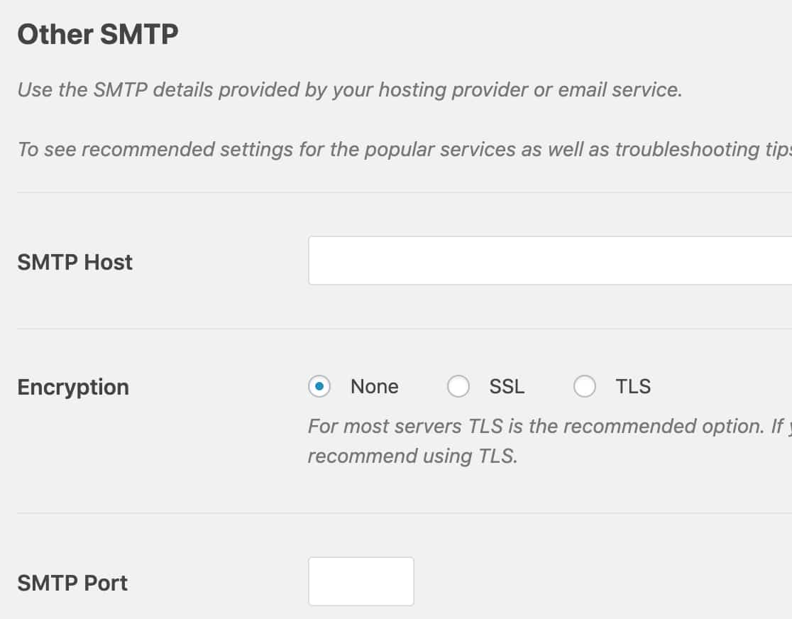 Other SMTP mailer settings