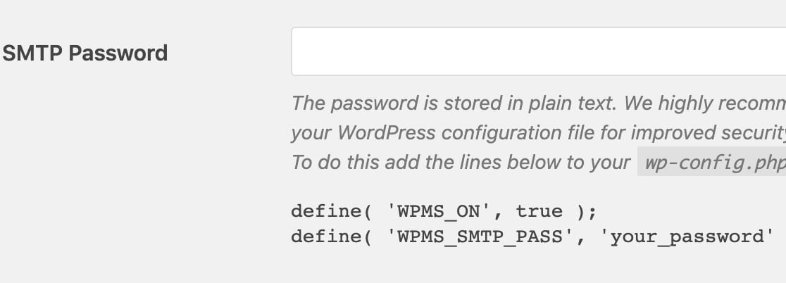 Password field for WP Mail SMTP