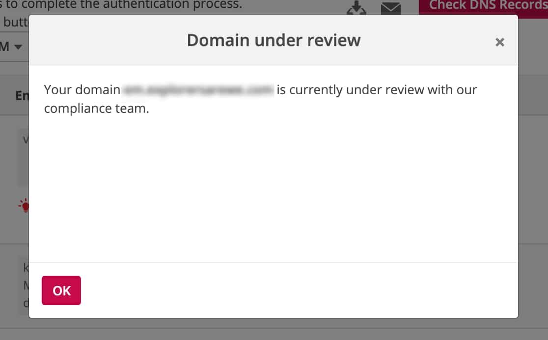Domain is under review by Pepipost complance team