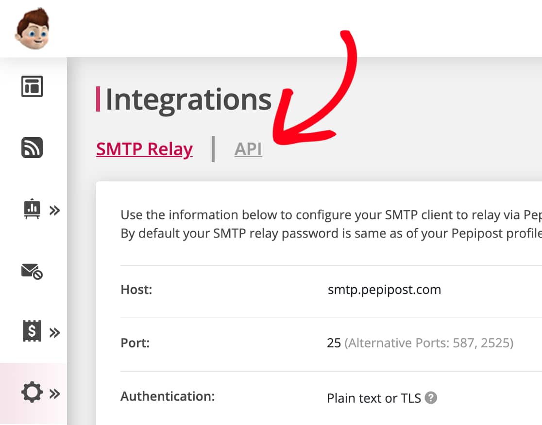 Open the Integrations page of Pepipost and then click API
