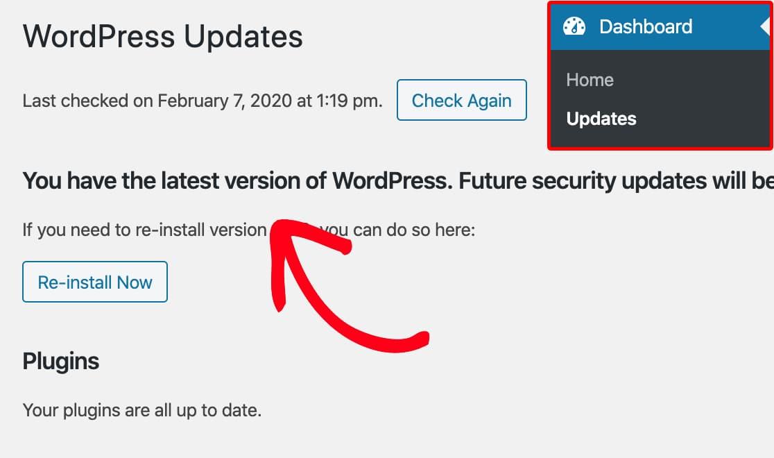 Check updates for WordPress core