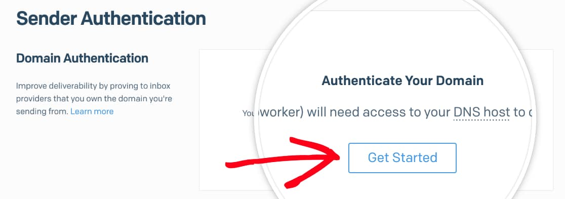 Click the Get Started button for Sender Authentication