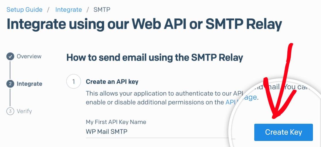 Create API key for SendGrid