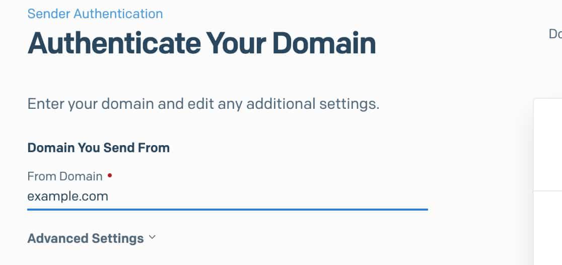 Enter your domain for SendGrid authentication