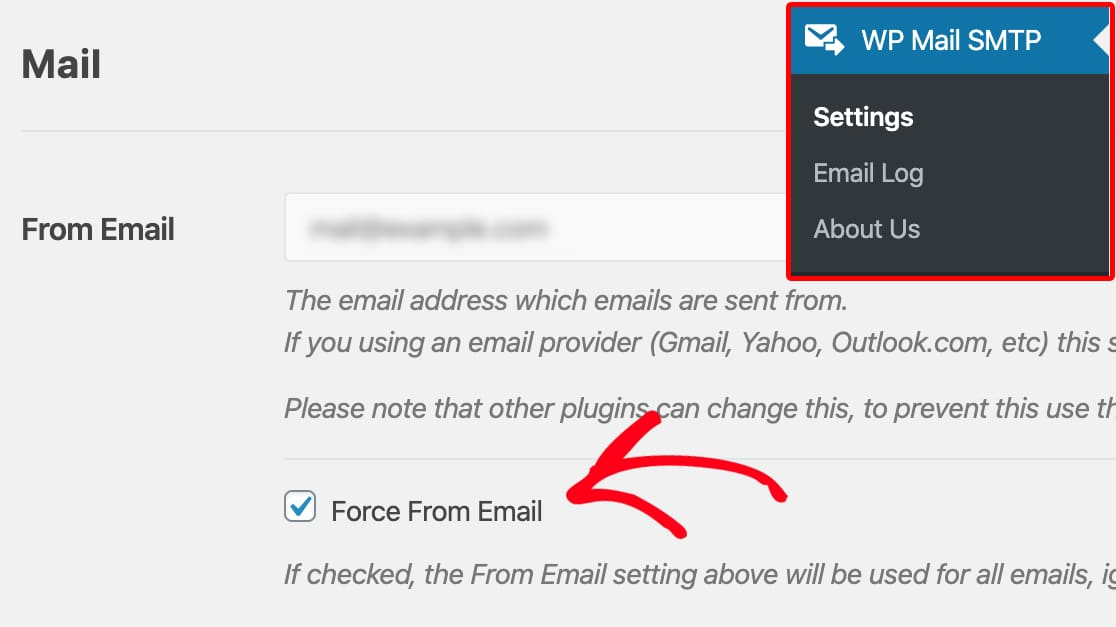 Force From Email in WP Mail SMTP