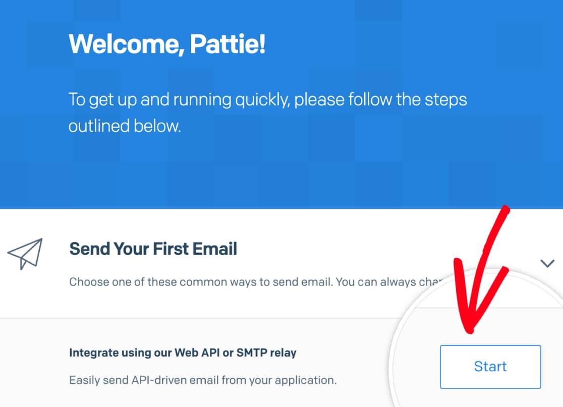 Start SMTP setup in SendGrid