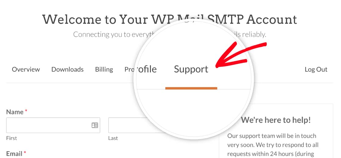 Support form in WP Mail SMTP account
