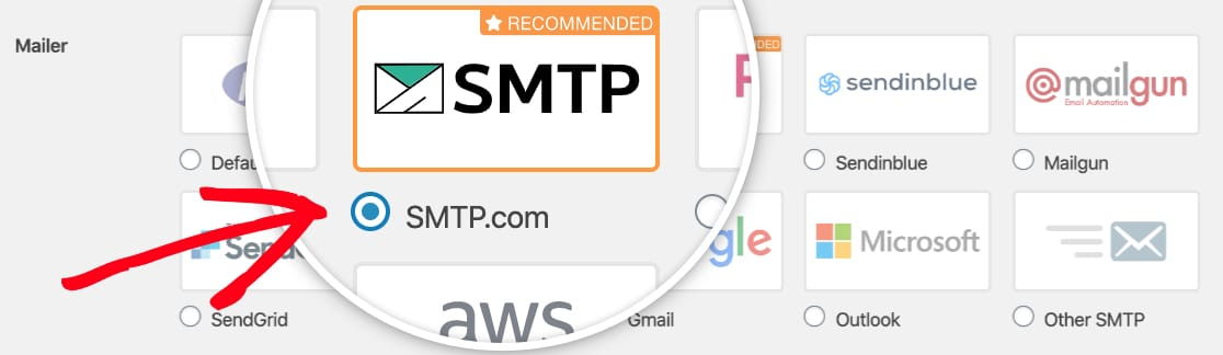 Select the SMTP com mailer in WP Mail SMTP