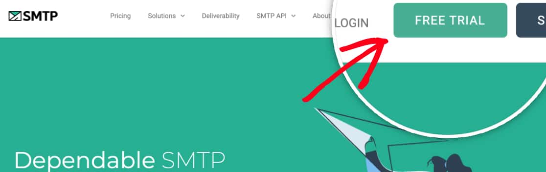 Start a free trial for SMTP com