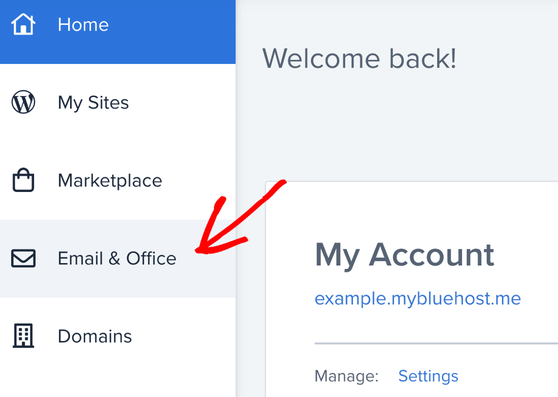 Email settings in Bluehost